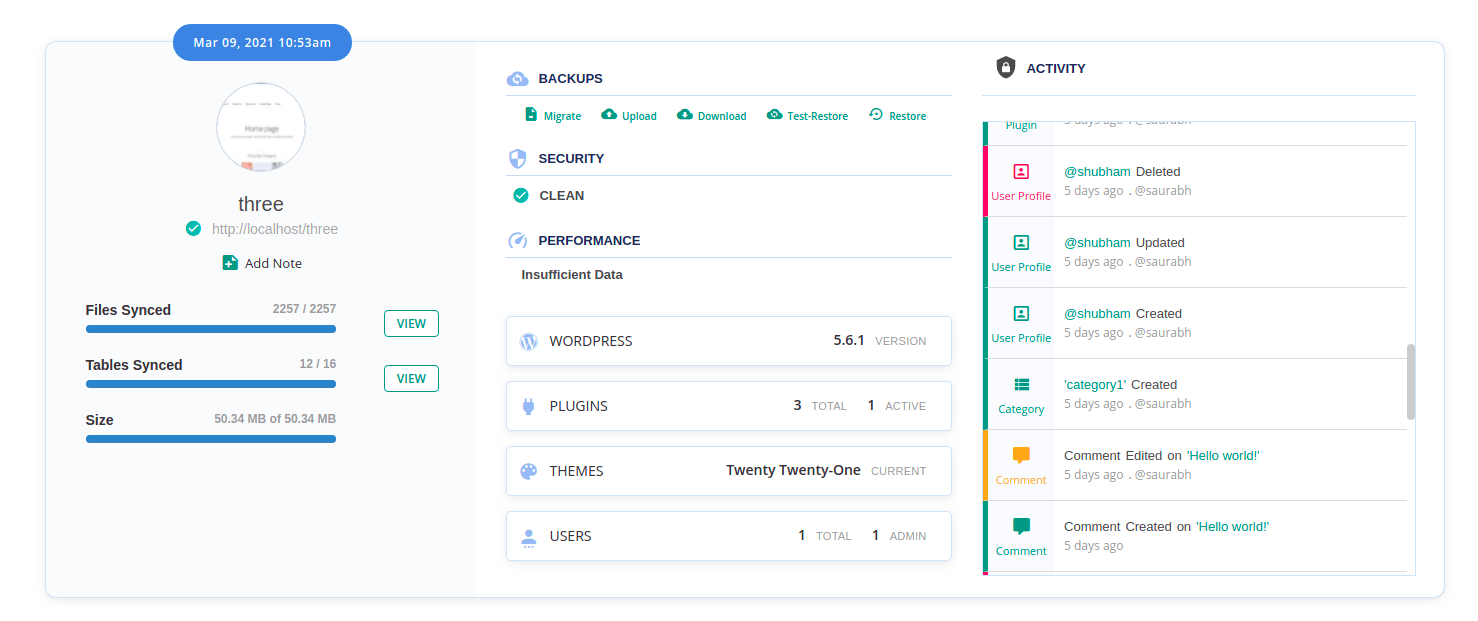User activity log on History page to see major changes
